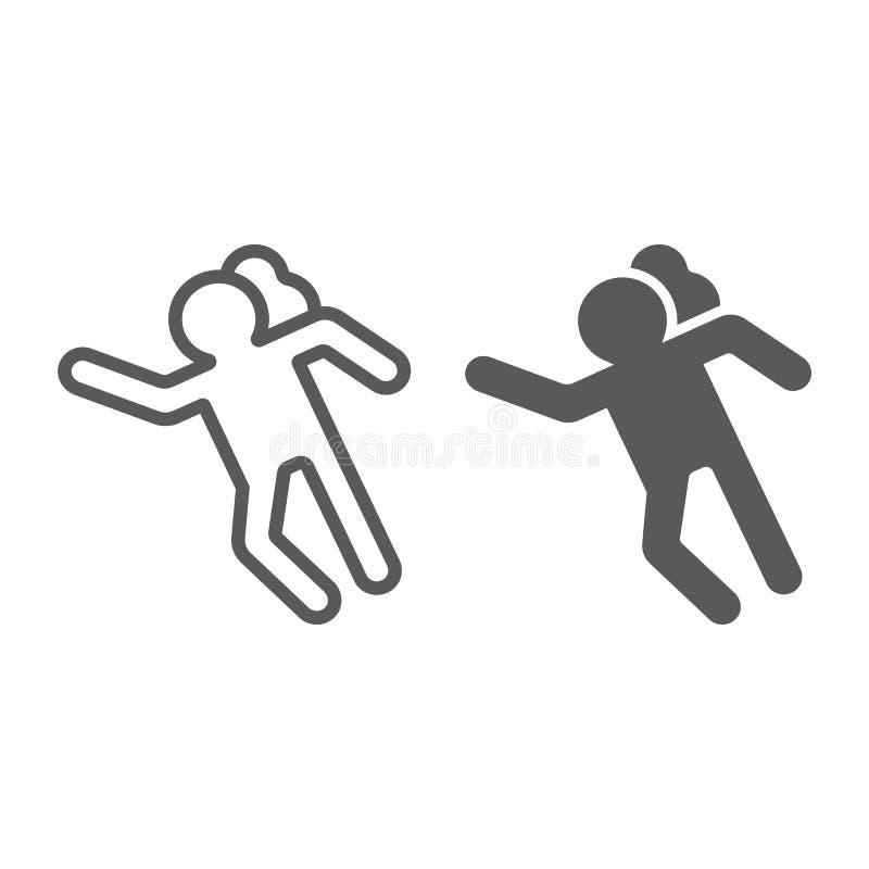 Ligne de scène du crime et icône de glyph, accident et meurtre, signe de victime, graphiques de vecteur, un modèle linéaire sur u illustration de vecteur