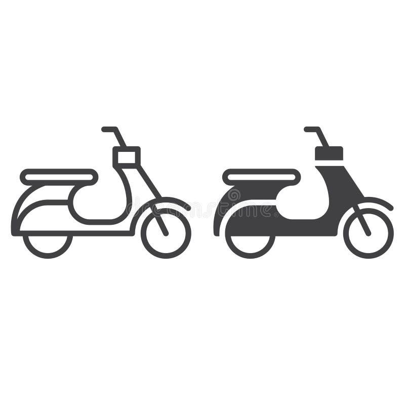 Ligne de scooter et icône solide, contour et pictogramme de signe de vecteur, linéaire et plein rempli d'isolement sur le blanc illustration libre de droits