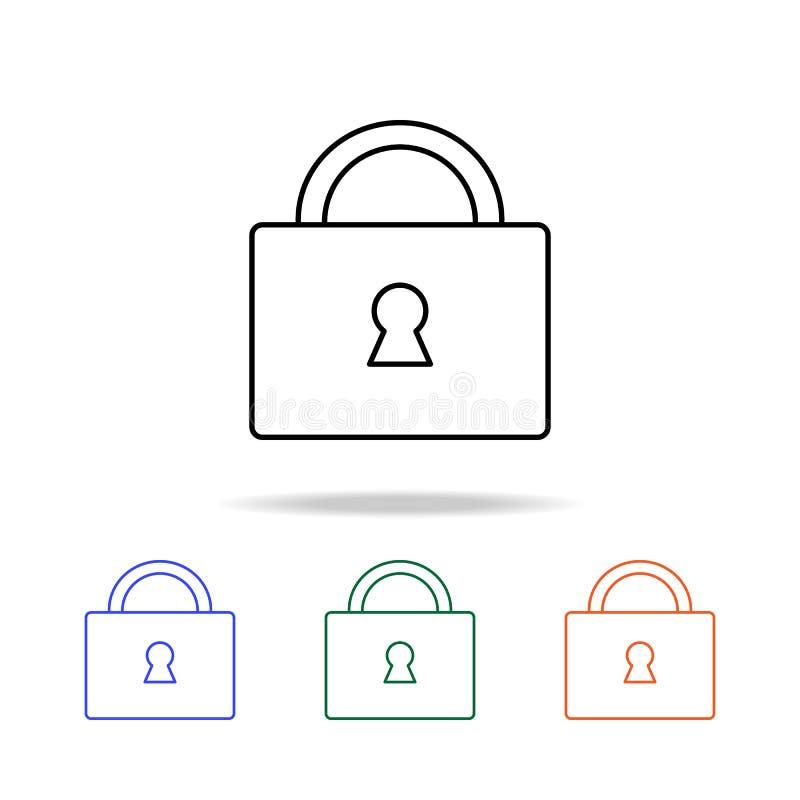 Ligne de serrure icône Éléments des immobiliers dans les icônes colorées multi Icône de la meilleure qualité de conception graphi illustration de vecteur