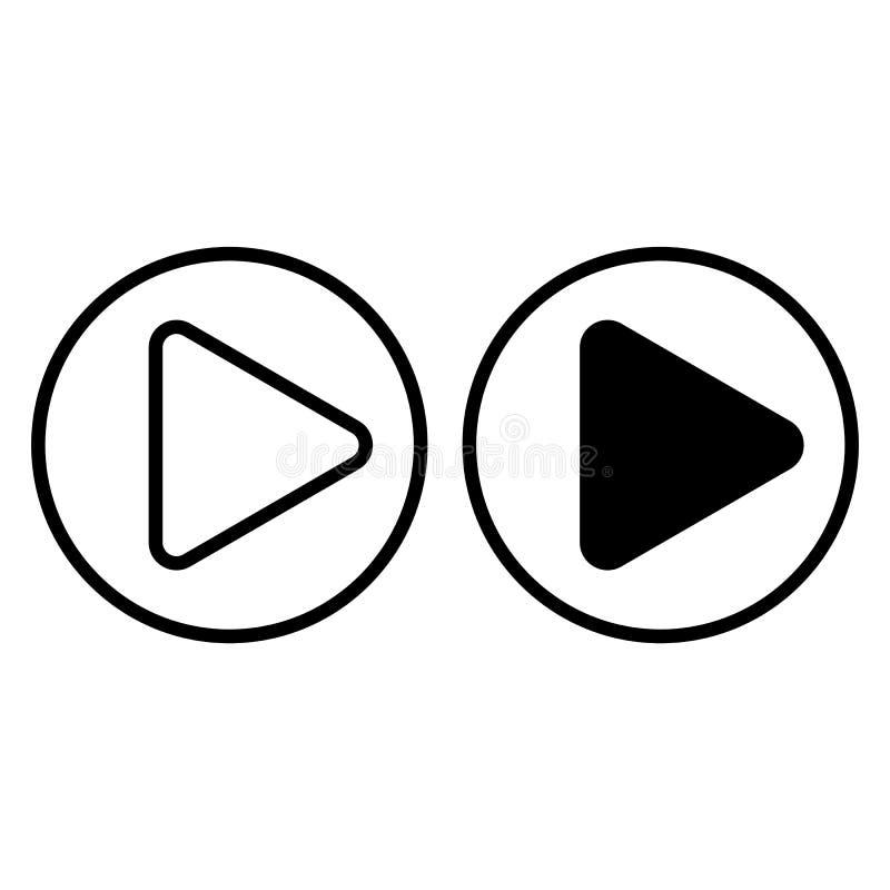 Ligne de signe de jeu et icône de glyph Illustration de vecteur de bouton de jeu d'isolement sur le blanc Conception de style d'e illustration stock