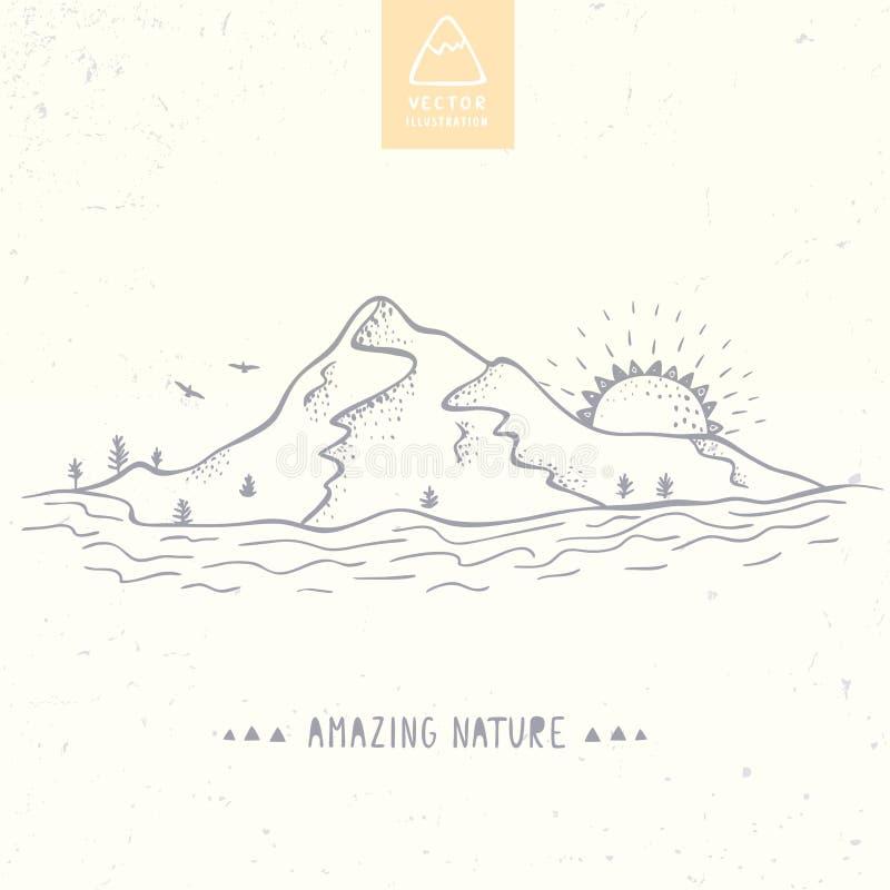 Ligne de silhouette de montagne illustration stock