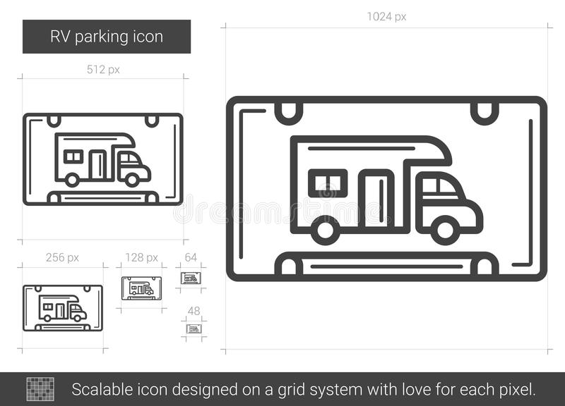Ligne de stationnement de rv icône illustration libre de droits