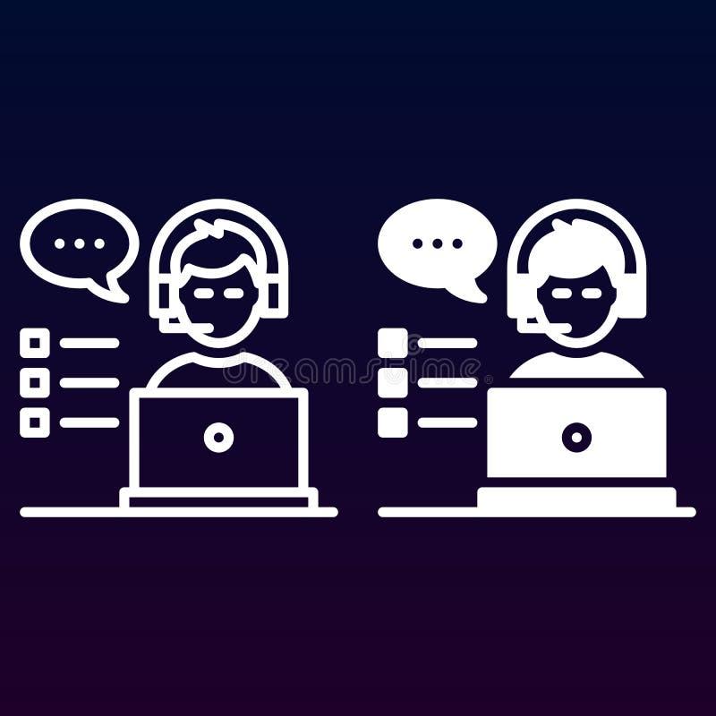 Ligne de support à la clientèle et icône de solide, contour et pictogramme de signe de vecteur, linéaire et plein rempli d'isolem illustration de vecteur