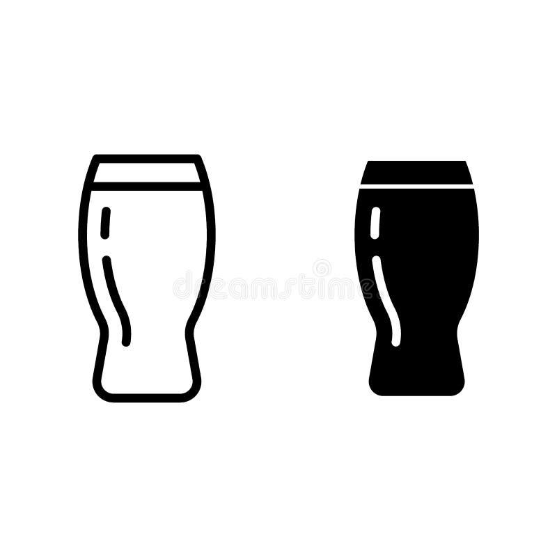 Ligne de tasse de bière et icône de glyph Illustration en verre de vecteur de pinte de bière d'isolement sur le blanc Conception  illustration stock