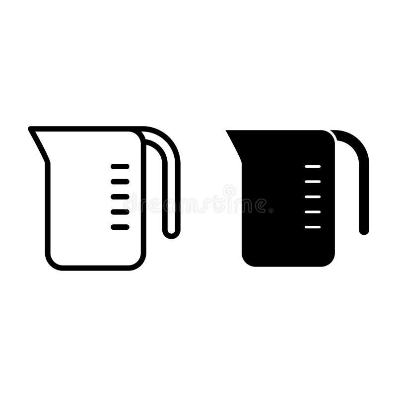 Ligne de tasse de mesure et icône de glyph Illustration de mesure de vecteur de cruche d'isolement sur le blanc Conception de sty illustration libre de droits