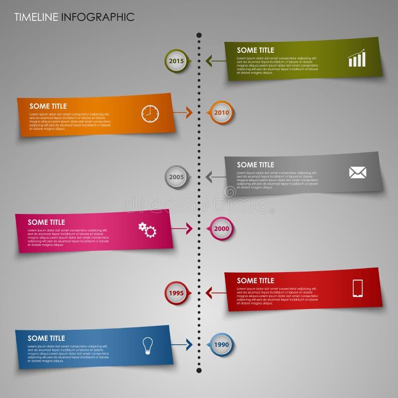 Ligne de temps calibre graphique de papier rayé de couleur d'infos illustration stock