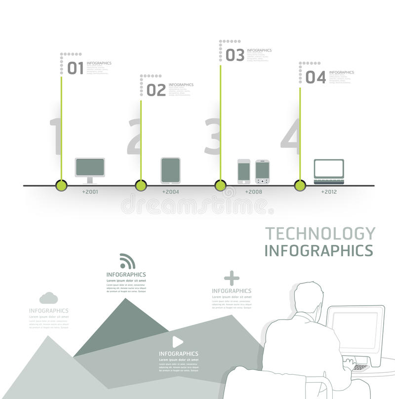 Ligne de temps de conception de technologie d'Infographic calibre illustration libre de droits