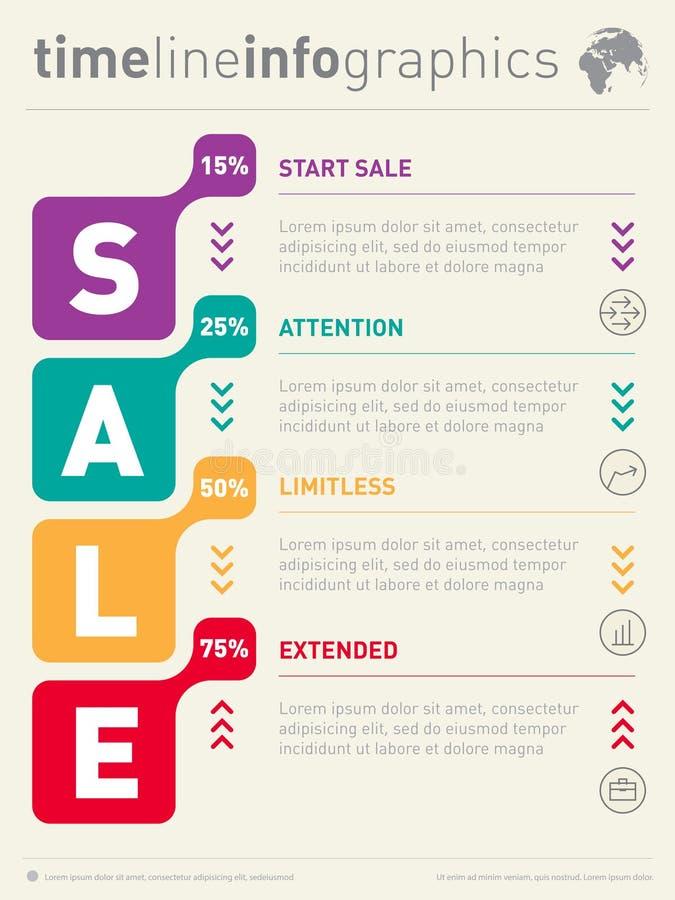 Ligne de temps graphique d'infos de vente Calibre de Web d'affaires avec des icônes T illustration stock
