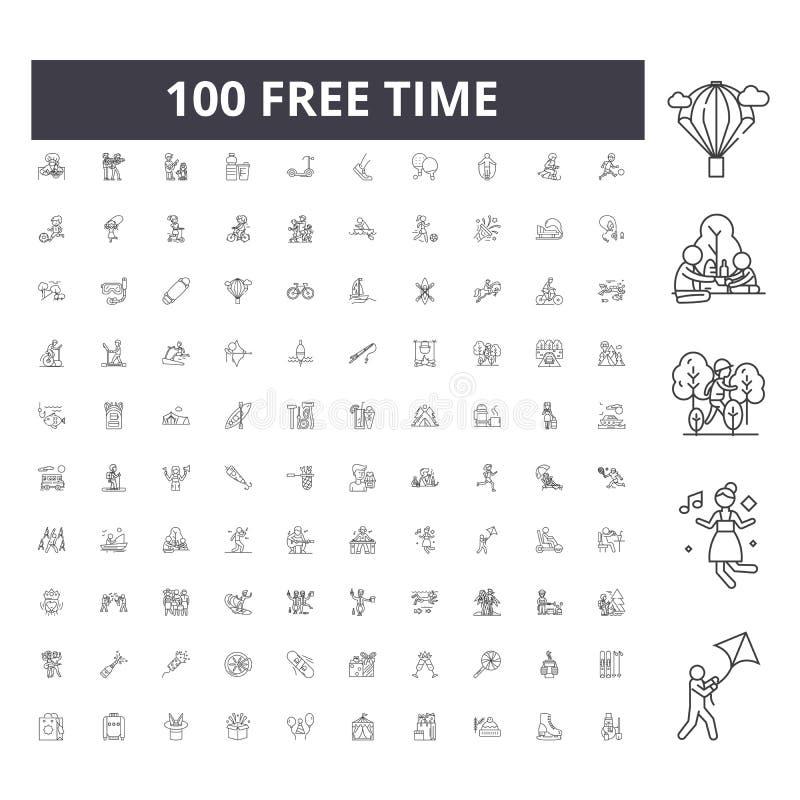 Ligne de temps libre icônes, signes, ensemble de vecteur, concept d'illustration d'ensemble illustration stock