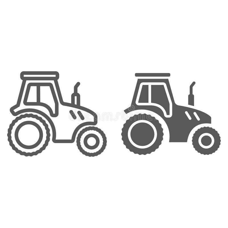 Ligne de tracteur et icône de glyph, cultivant illustration de vecteur