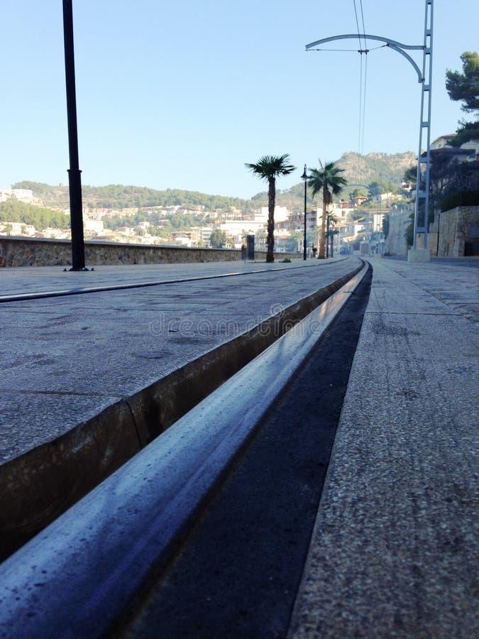 Ligne de tram de Soller, Majorque image stock