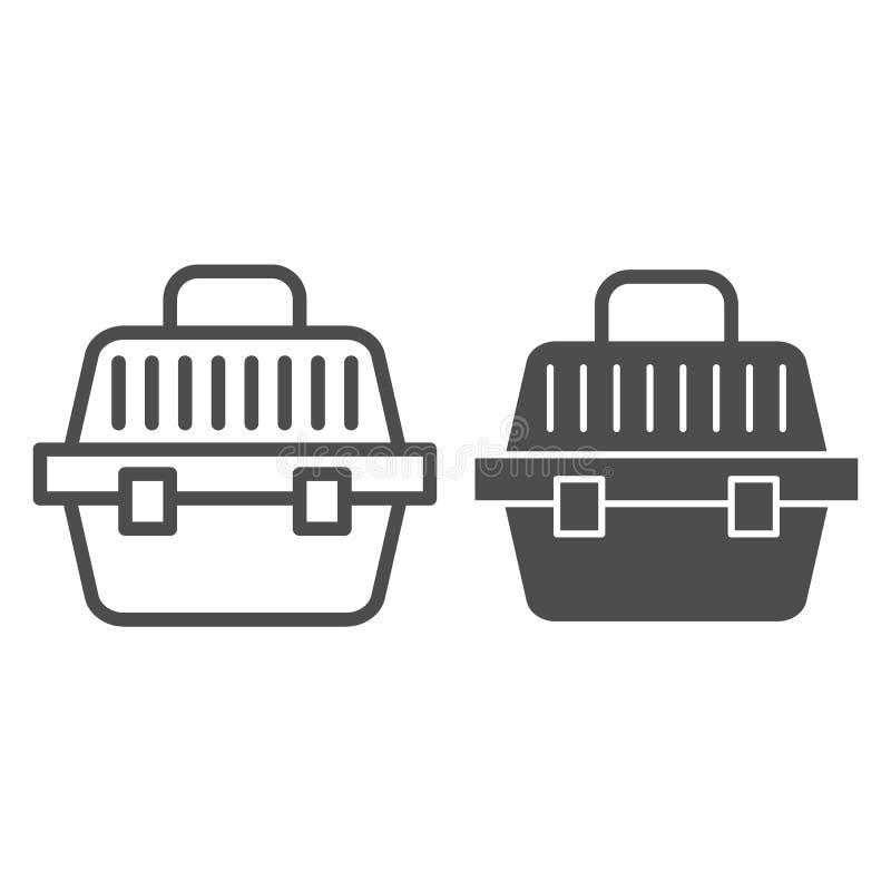 Ligne de transporteur et icône animales de glyph Illustration de vecteur de panier d'animal familier d'isolement sur le blanc Con illustration de vecteur