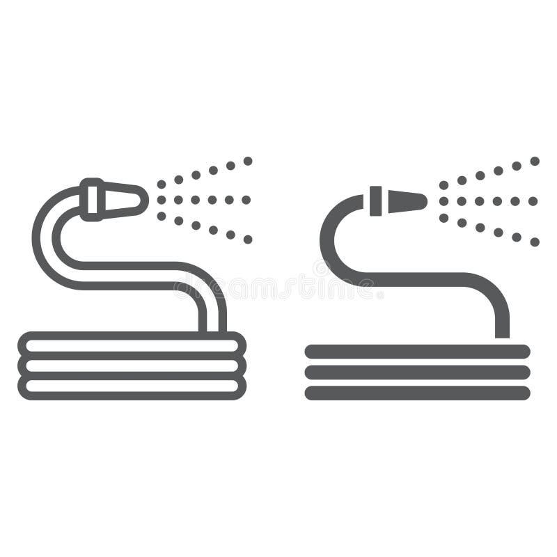 Ligne de tuyau d'arrosage et icône de glyph, cultivant illustration stock