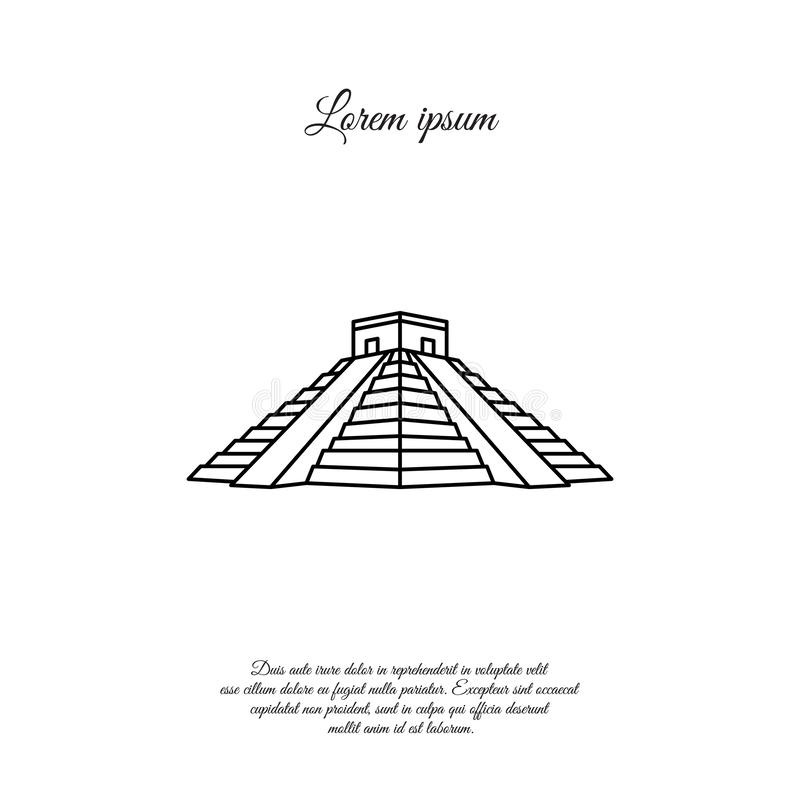 Ligne de vecteur de Chichen Itza, icône linéaire, signe illustration libre de droits