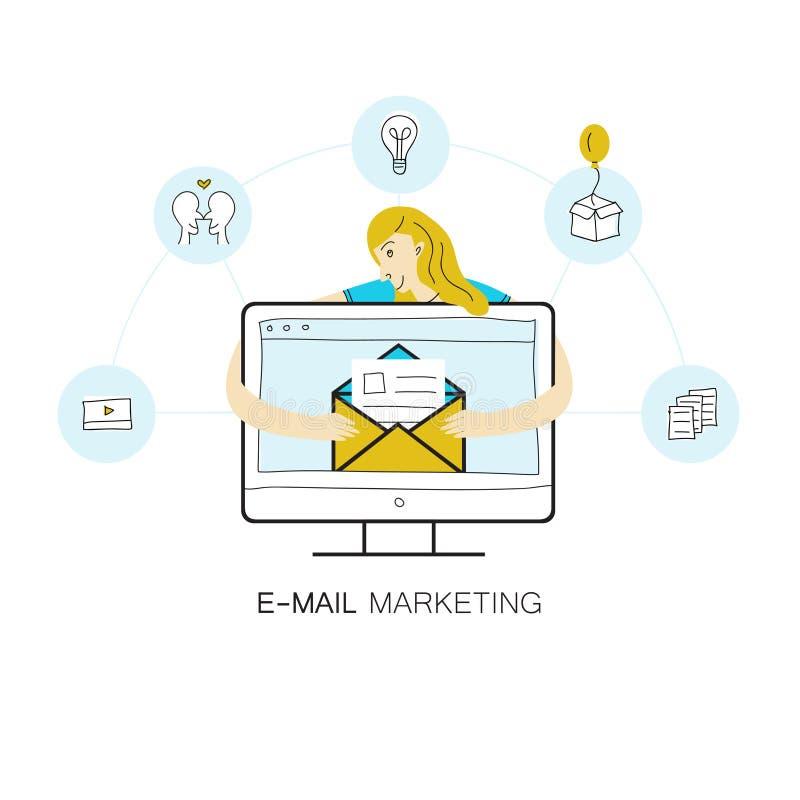 Ligne de vecteur illustration de style avec l'écran d'ordinateur, ensemble d'icônes d'email en cercles et fille recevant l'email illustration libre de droits