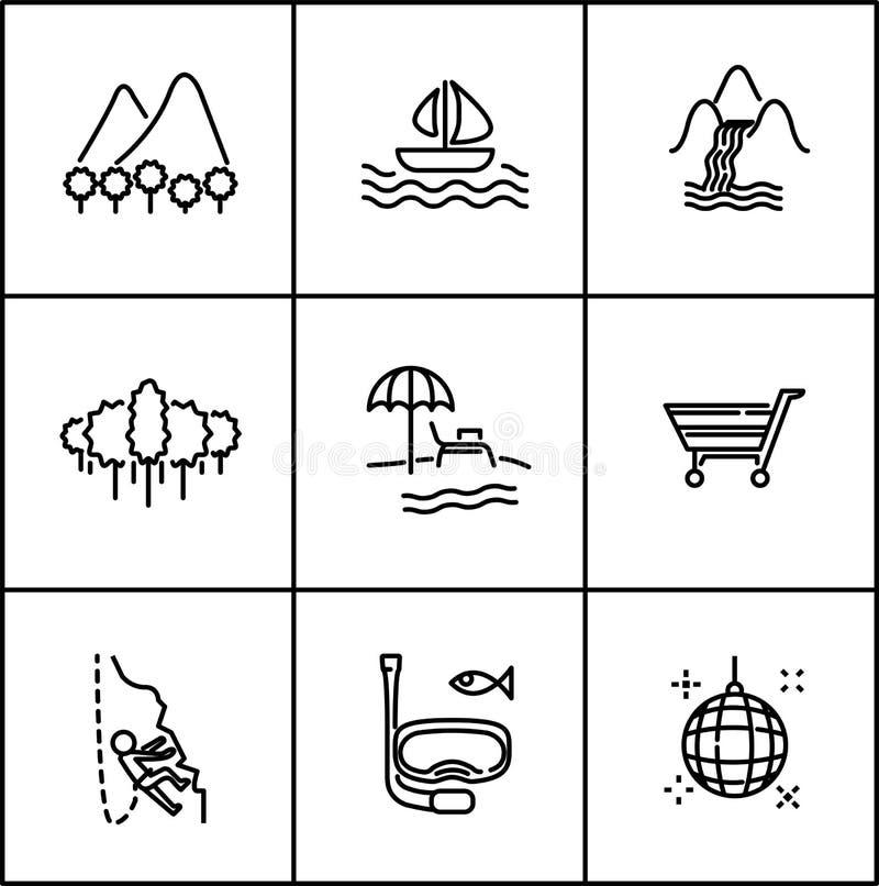 Ligne de vecteur de voyage style plat d'icône sur le fond blanc photo libre de droits