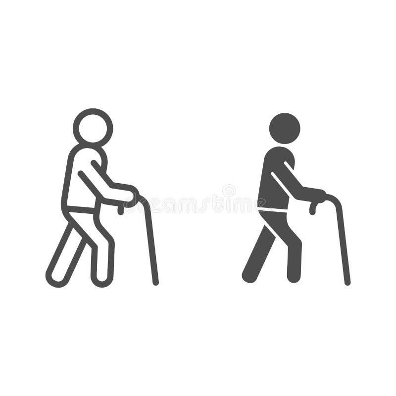 Ligne de vieil homme et icône de glyph Homme avec l'illustration de vecteur de bâton de marche d'isolement sur le blanc Style d'e illustration de vecteur