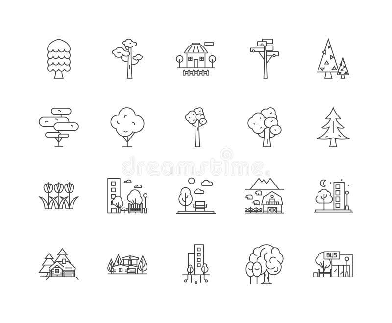 Ligne de ville verte ic?nes, signes, ensemble de vecteur, concept d'illustration d'ensemble illustration stock