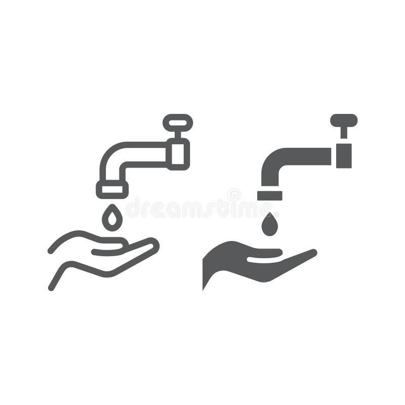 Ligne de wudu et icône islamique de glyph, arabe et prière, signe de lavage de main, graphiques de vecteur, un modèle linéaire su illustration stock