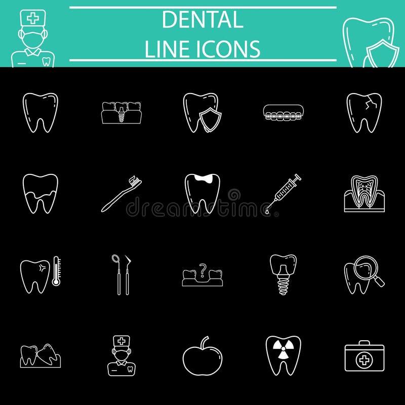 Ligne dentaire ensemble d'icône illustration stock