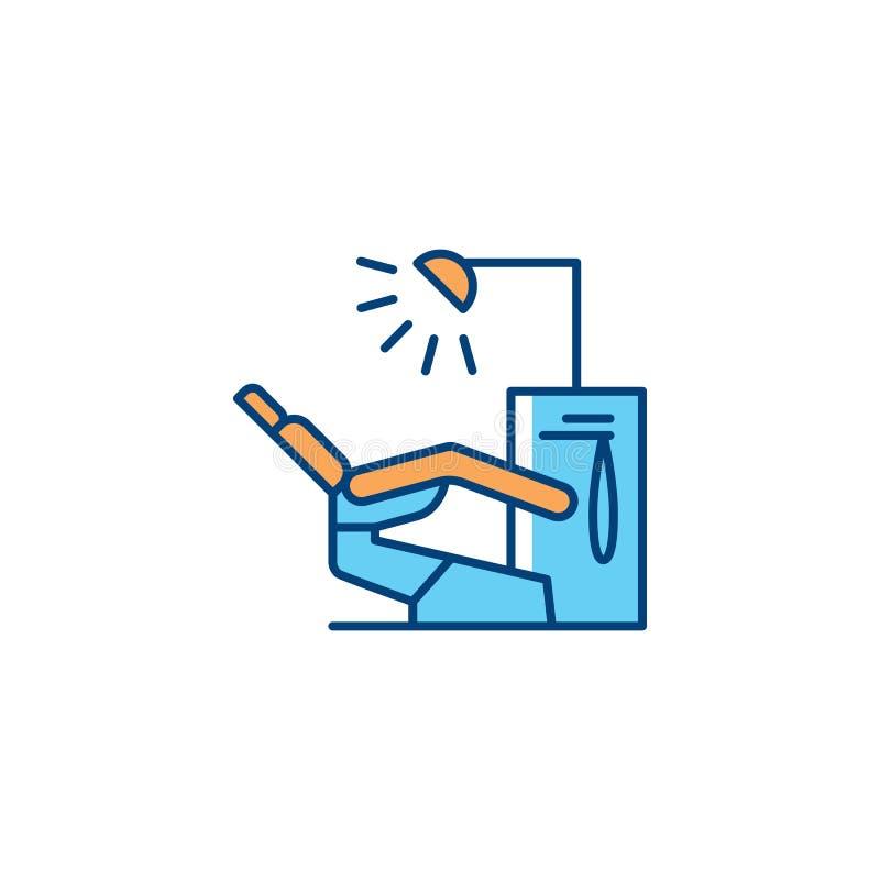 Ligne dentaire icône, moteur dentaire de chaise pour l'usage dans un bureau du ` s de dentiste Logo dentaire de traitement Illust illustration libre de droits