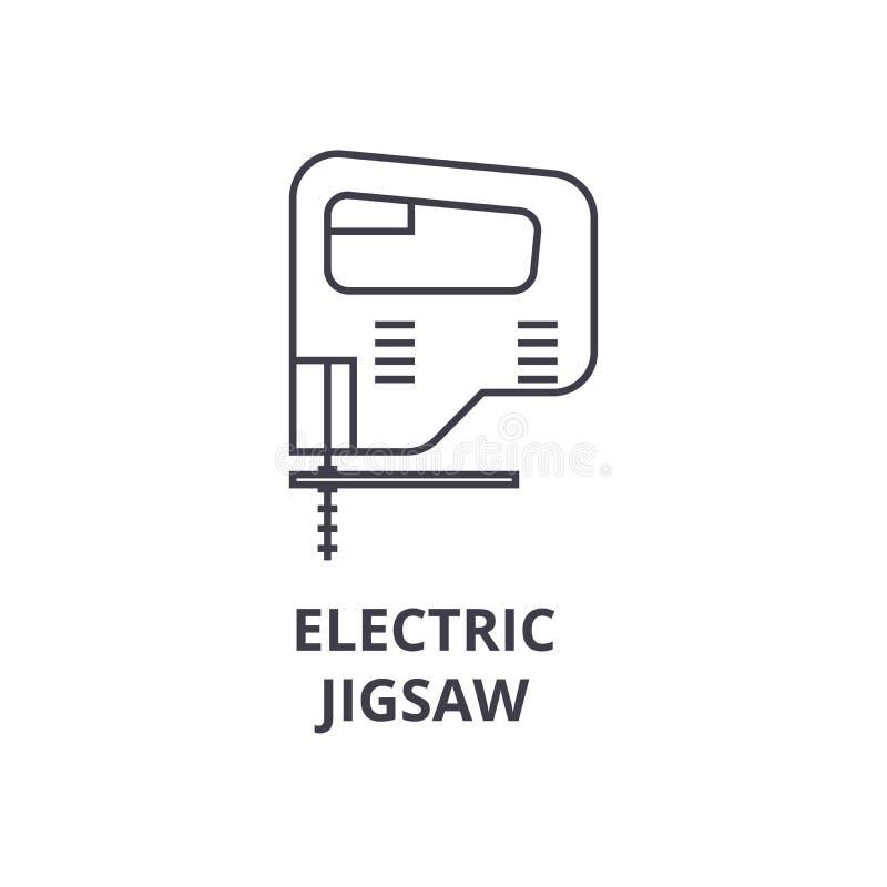 Ligne denteuse électrique icône, signe, illustration de vecteur sur le fond, courses editable illustration stock