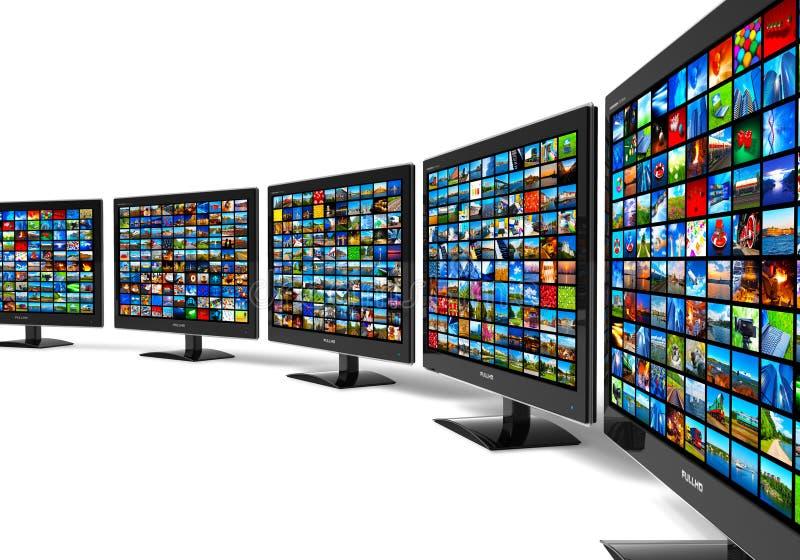 Ligne des affichages en format large de HD avec des images multiples illustration libre de droits