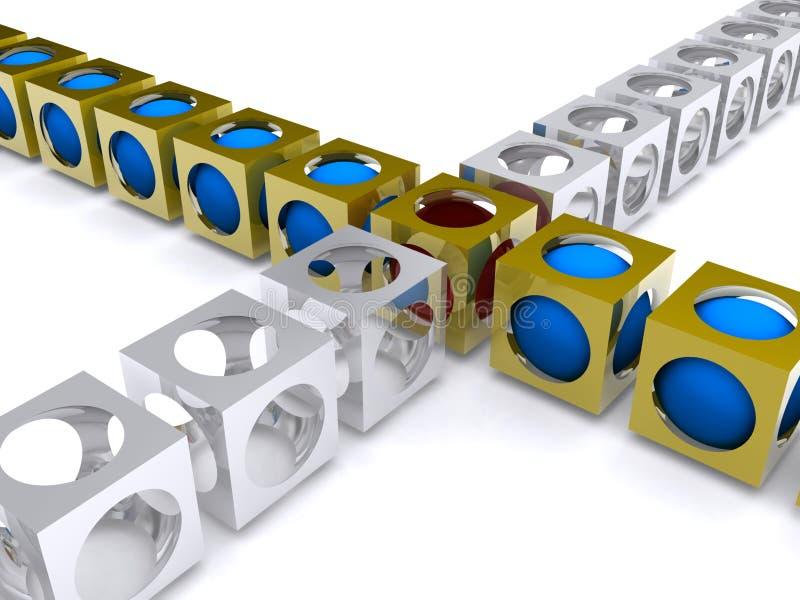 Ligne des cubes intersectant illustration stock