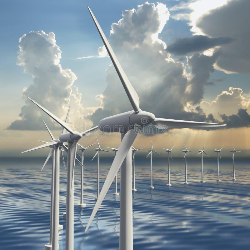 Ligne des générateurs de vent en mer illustration libre de droits