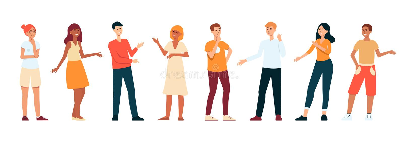 Ligne des jeunes se tenant et parlant, jeu de caractères plat de bande dessinée d'isolement sur le fond blanc illustration de vecteur