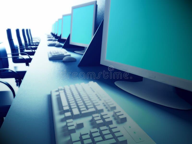 Ligne des ordinateurs sur un bureau illustration de vecteur