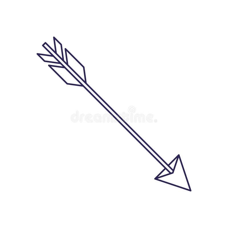 Ligne des pourpres découpe de chasser la flèche illustration stock
