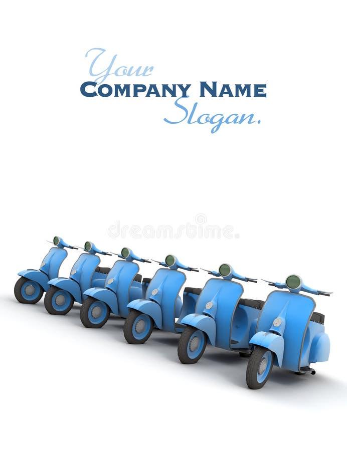 Ligne des scooters bleus illustration de vecteur