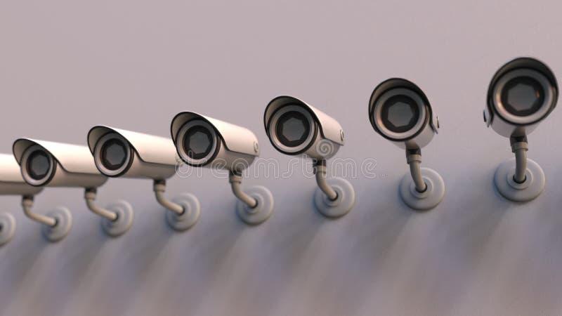 Ligne des vidéos surveillance sur le mur Rendu 3D conceptuel sécuritaire public illustration libre de droits