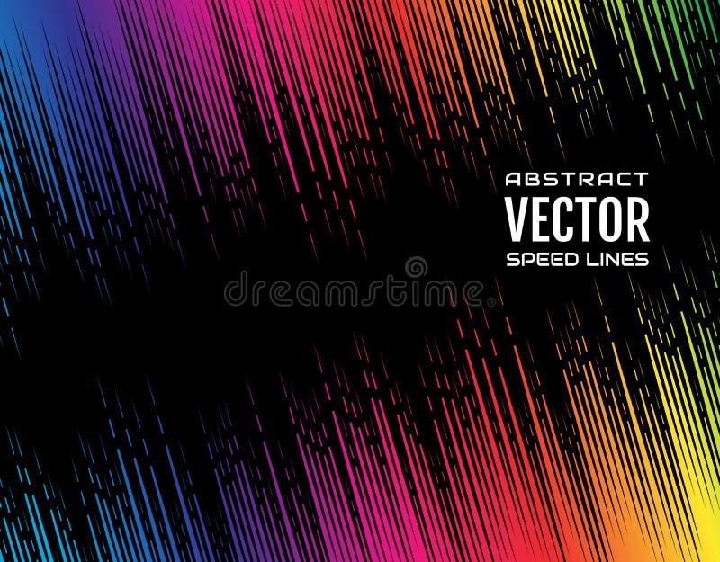 Ligne diagonale comique de fête gradient de vitesse de tiret de couleur iridescente d'arc-en-ciel sur le fond noir Élément de con illustration stock