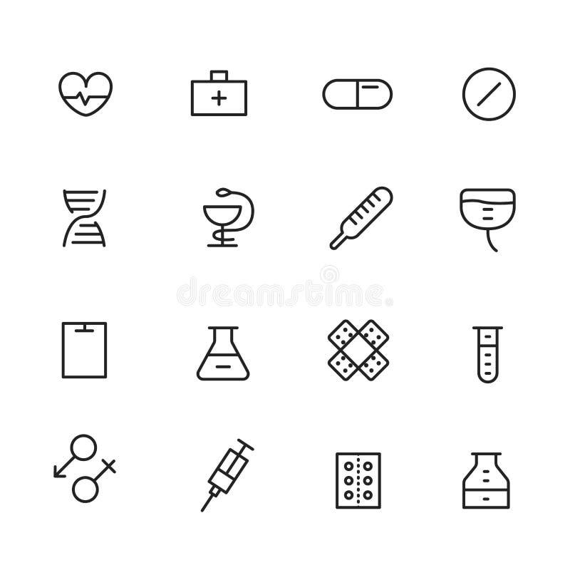 Ligne différente icônes de style réglées illustration stock