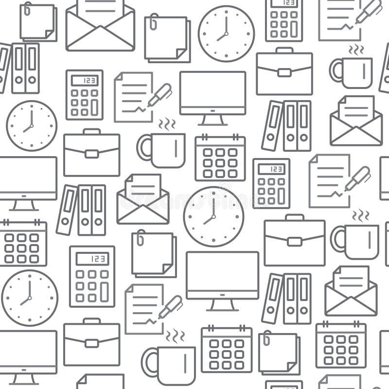 Ligne différente modèle sans couture d'icônes de style, bureau illustration libre de droits