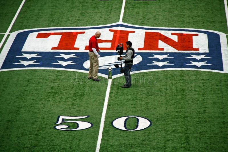 Ligne discussion de yard du stade 50 de cowboys de trophée photographie stock