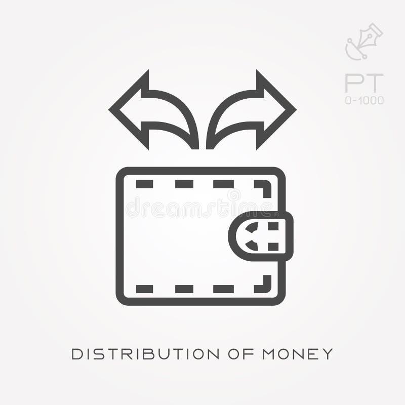 Ligne distribution d'icône d'argent illustration stock