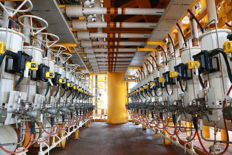 Ligne diverse de production de pétrole et de gaz qui a commandé par programme ou pétrole de technicien La fonction de valve à se  image stock