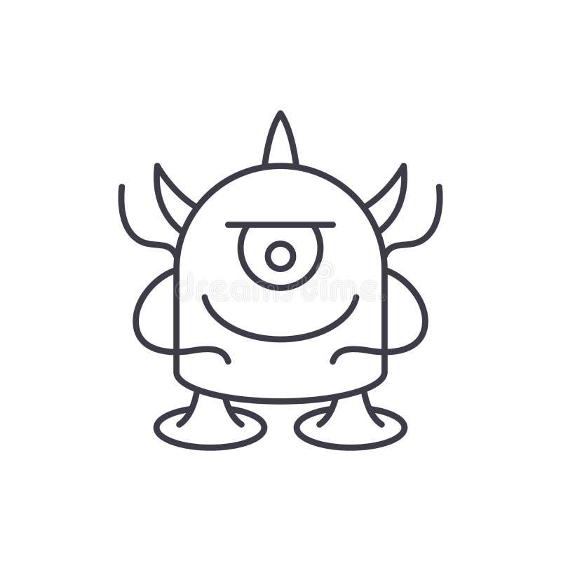 Ligne drôle concept de monstre d'icône Illustration linéaire de vecteur drôle de monstre, symbole, signe illustration libre de droits