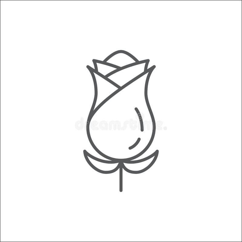 Ligne editable icône - illustration parfaite de Rose de vecteur de beau pixel de fleur d'isolement sur le fond blanc illustration stock