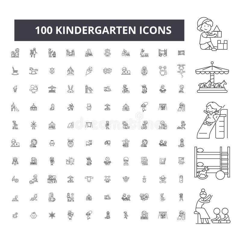 Ligne editable icônes, ensemble de 100 vecteurs, collection de jardin d'enfants Illustrations d'ensemble de noir de jardin d'enfa illustration stock