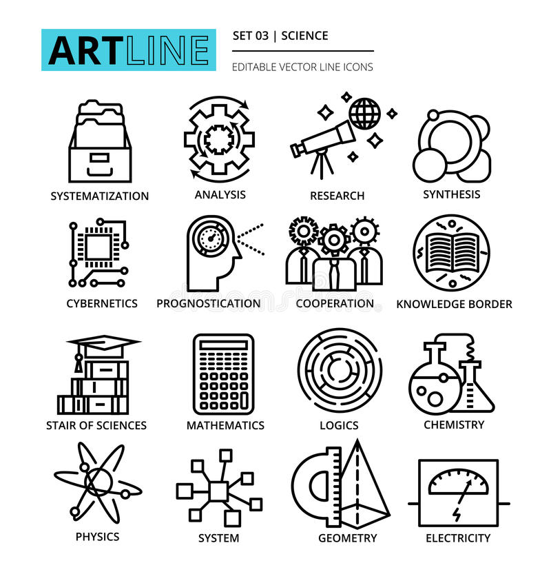 Download Ligne Editable Moderne Illustration De Vecteur, Ensemble D'icônes De La Science Illustration de Vecteur - Illustration du coopération, ligne: 77156042