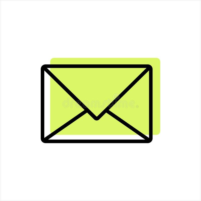 Ligne email d'icône avec l'élément jaune illustration stock