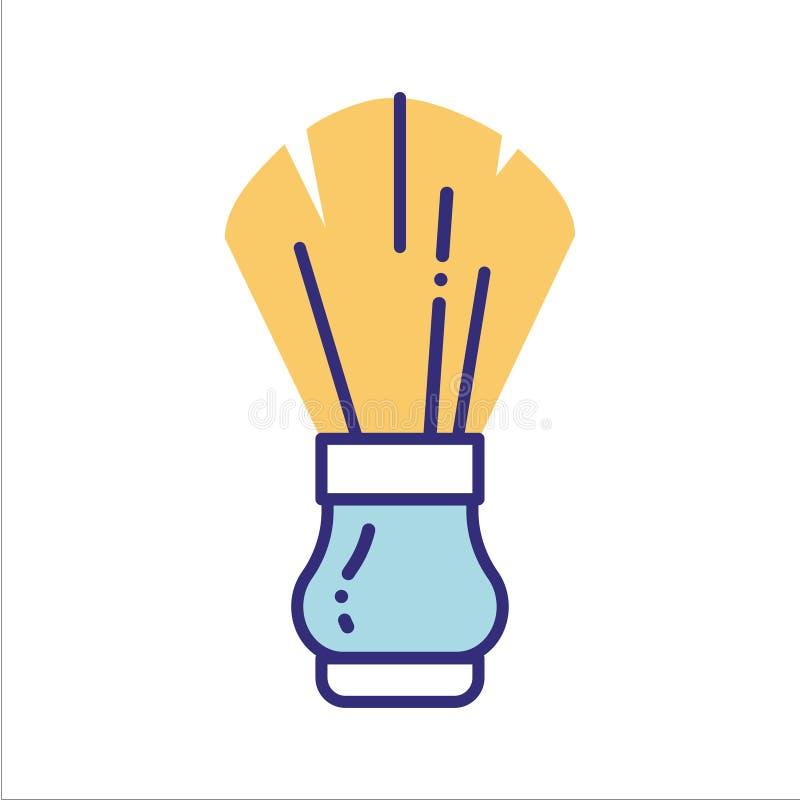 Ligne en bois icône de brosse de rasage de couleur Mode de vie de rebut z?ro illustration stock