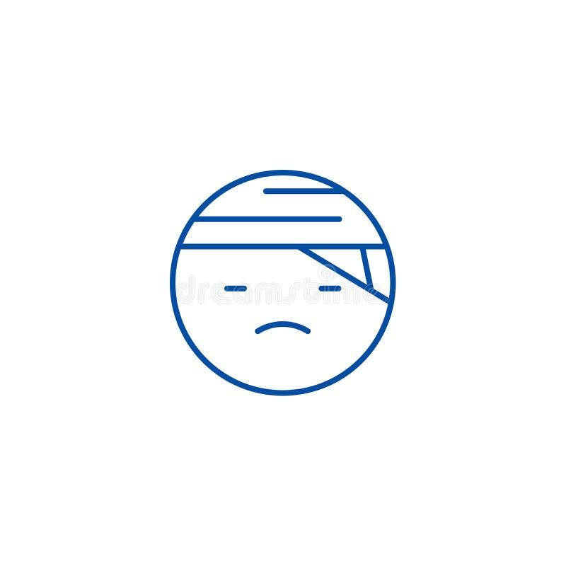 Ligne en difficulté concept d'emoji d'icône Symbole plat de vecteur d'emoji malade, signe, illustration d'ensemble illustration de vecteur