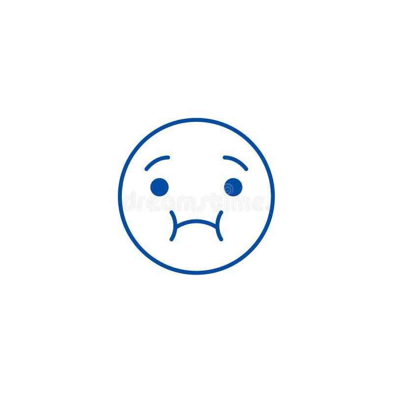 Ligne en difficulté se sentante concept d'emoji d'icône Symbole plat se sentant de vecteur d'emoji malade, signe, illustration d' illustration libre de droits