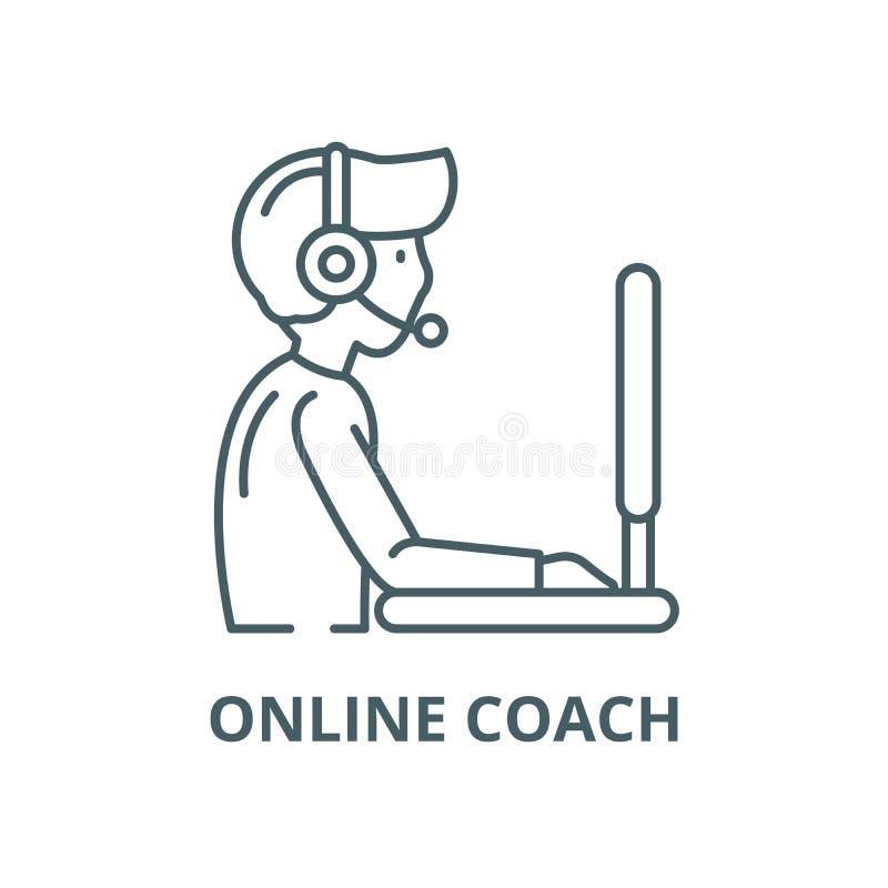 Ligne en ligne icône, concept linéaire, signe d'ensemble, symbole de vecteur d'entraîneur illustration de vecteur