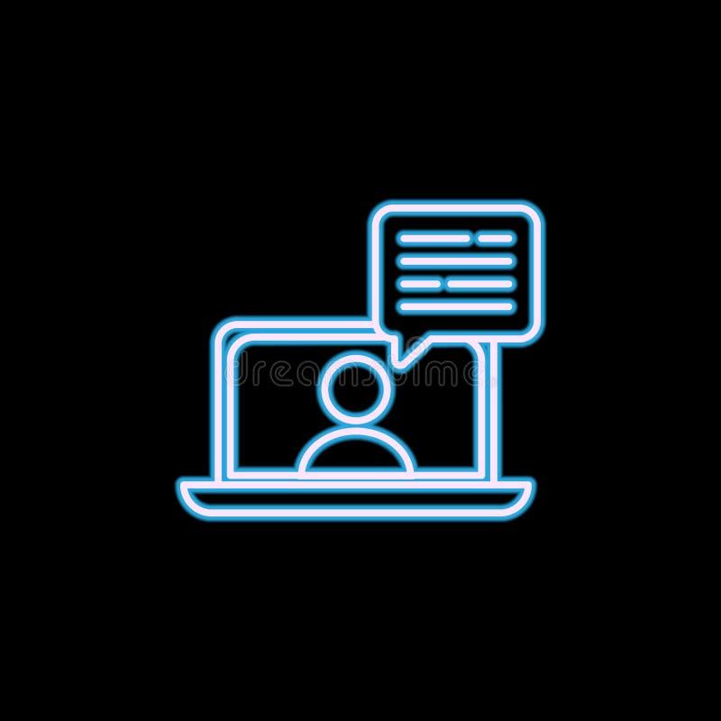 ligne en ligne icône d'entrevue dans le style au néon Un de recruter des cadres, icône de collection d'heure peut être employé po illustration libre de droits
